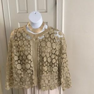 Elegant Eloquii golden crochet jacket